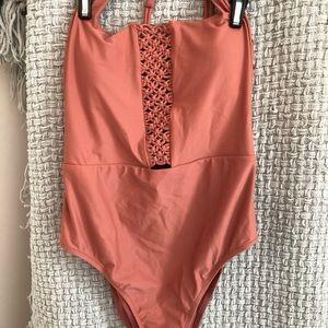 Women's Pink Macrame Scoop One Piece Swimsuit